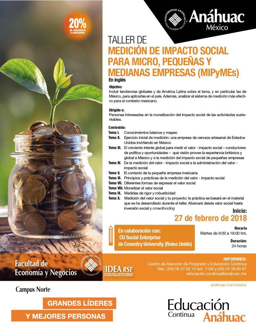 Flyer digital Taller de Impacto Social para Micro, Pequeñas y Medianas E...